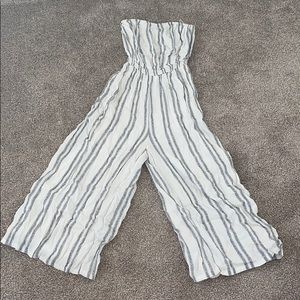 urban outfitters black white stripe jumpsuit